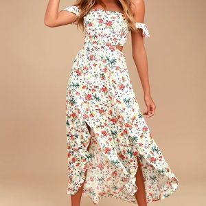 S Lulus Cream Floral Off-Shoulder Midi Dress